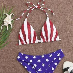 ZOLA american flag print halter bikini